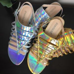 Gold and Silver Holographic Sandals - BOTH Pairs!